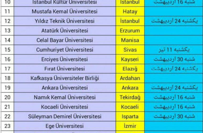 زمان و تاریخ آزمون یوس YÖS دانشگاههای مختلف ترکیه