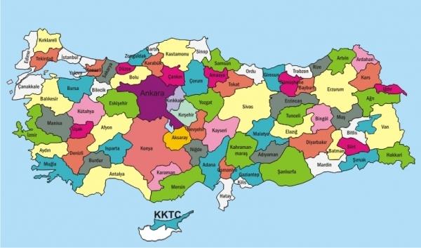 نقشه کامل ترکیه با جزئبات کامل