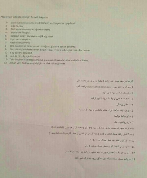 مدارک لازم برای اخذ ویزا برای افغانهای مقیم ایران