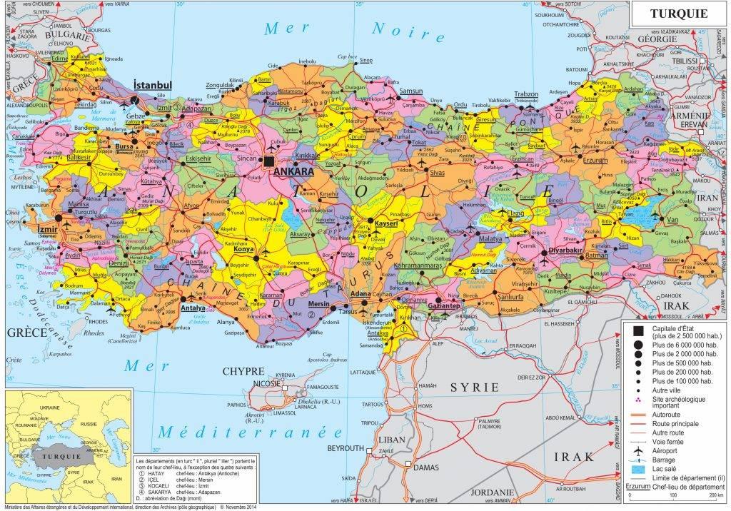 نقشه شهرهای ترکیه
