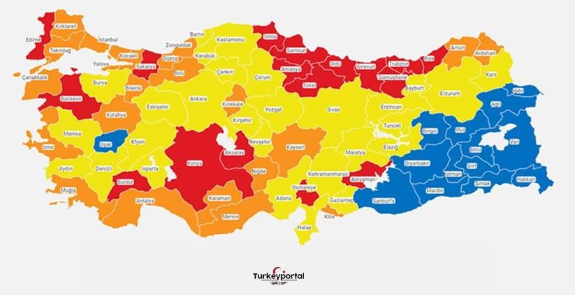 نقشهی وضعیت مبتلایان کرونا در ترکیه